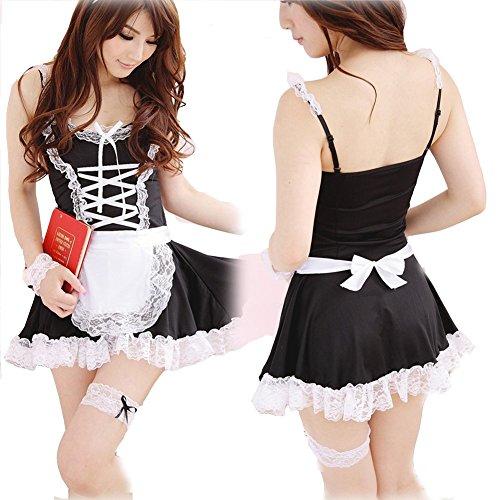 Chinatera Womens Sexy Lingerie Apron Maid Servant Lolita Costume Dress Uniform