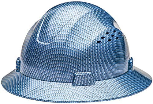 Full Graphics Hard Hat - HDPE-Hydro Dipped Blue Full Brim Fiberglass Hard Hat with Fas trac Suspension HDPE Hydro
