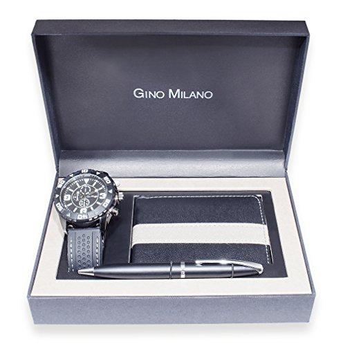 (Men's Matching Watch, Wallet & Pen Gift Set (Grey))