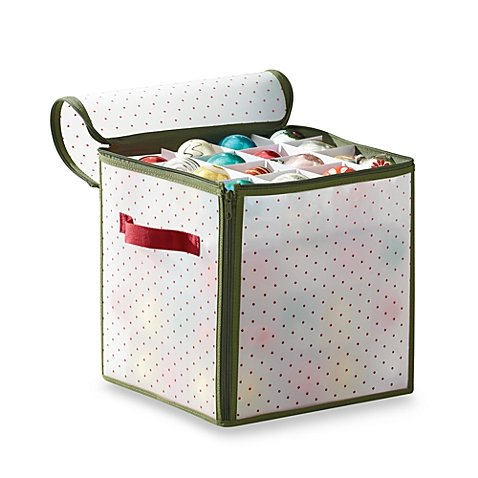 Side Handle and Zippered Closure Convenient 12 W X 12 D X 12 H Durable Holiday 64-count Ornament Storage with Removable Divider