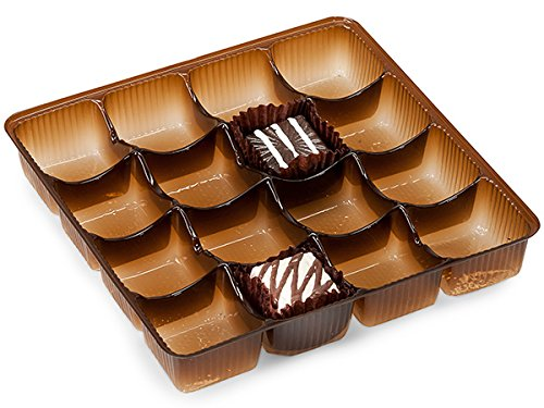 Pack Of 500, 5.5 X 5.5 X 1'' Medium Square Solid Chocolate Brown Candy Trays W/16 Sections