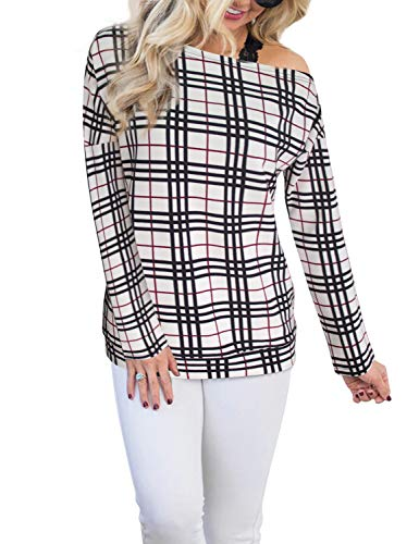 ba1cc5b5b29bd Blooming Jelly Women's Plaid Shirt Off The Shoulder Color Block Banded Hem  Slouchy Top
