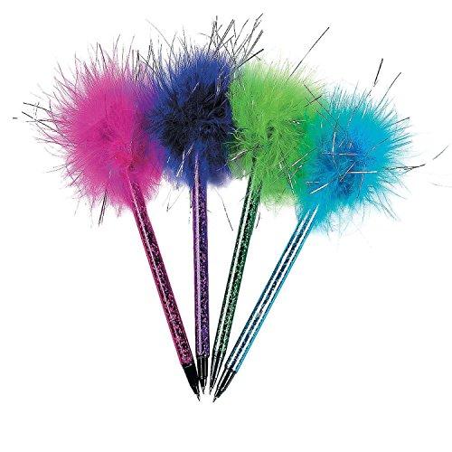 Bargain World Plastic Metallic Marabou Pens (With Sticky ()
