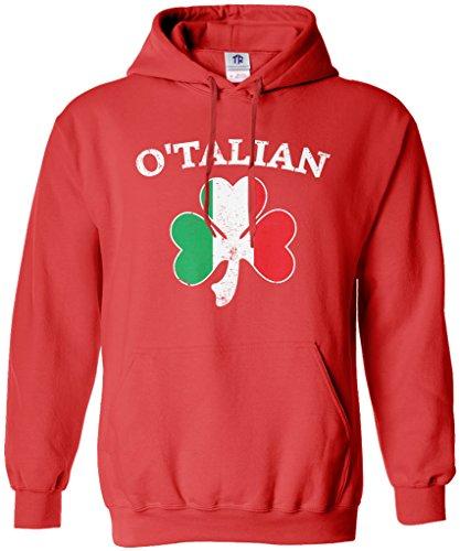 Threadrock O'Talian Italian Irish Shamrock Unisex Hoodie Sweatshirt XL Red