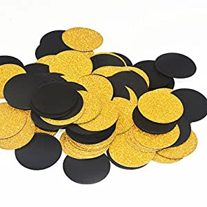 "Glitter Black and Gold Paper Decorations Confetti,Birthday Party, Wedding Party, Table Confetti, Festival Items & Party Props, Gold Glitter Paper Confetti - DIY Kits,200pcs of 1.2"" Circle Dots"