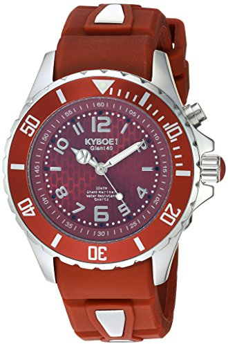 KYBOE! 'Power' Quartz Stainless Steel and Silicone Casual Watch, Color:Red (Model: FW.40-009.15)