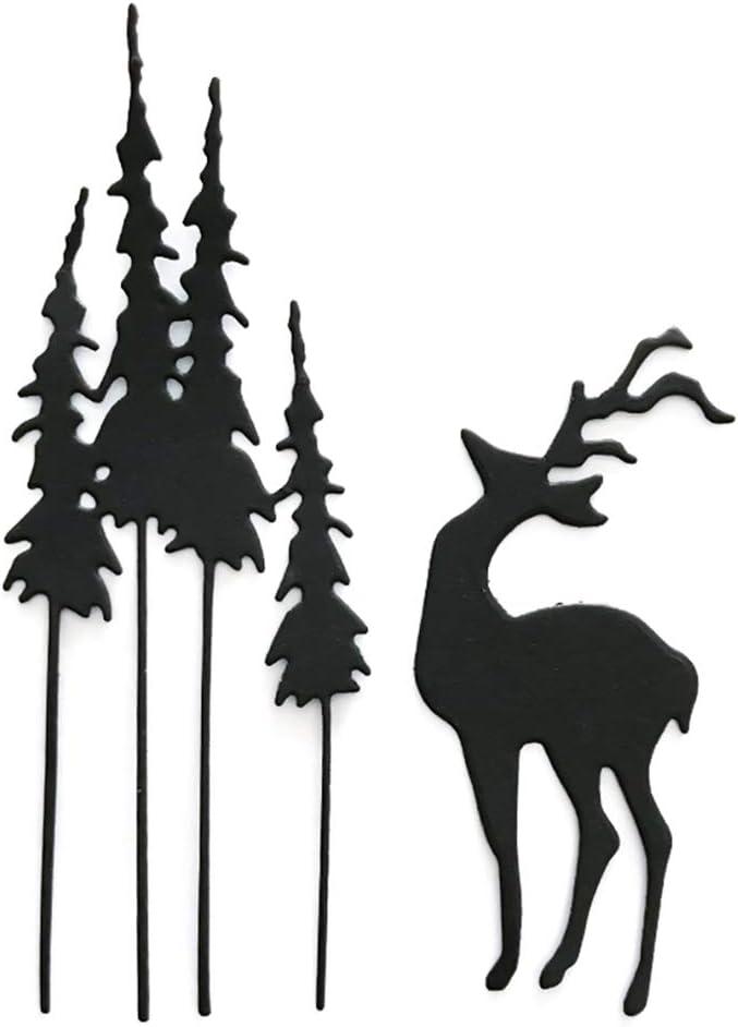 ManFull Cutting Dies Cut Metal Scrapbooking Stencils Christmas Tree Deer Elk Card Making Cutting Dies Scrapbooking Craft Stencil for Scrapbooking,DIY Craft,Gift Silver Metal Cutting Dies