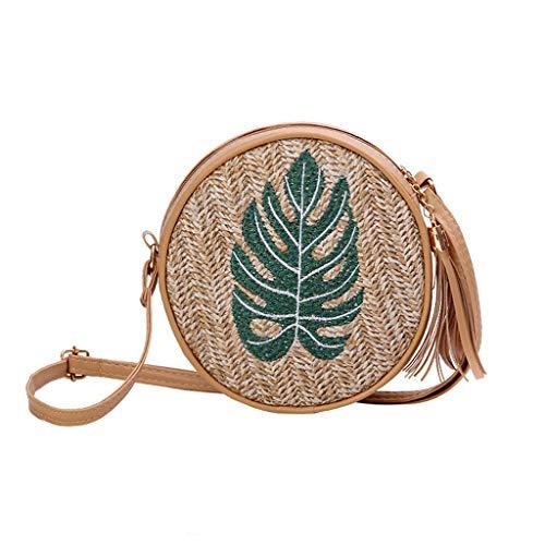 (Respctful✿Boho Straw Woven Basket Bag Handwoven Straw Bag Beach Crossbody Purse with Shoulder Straps Lined Boho)