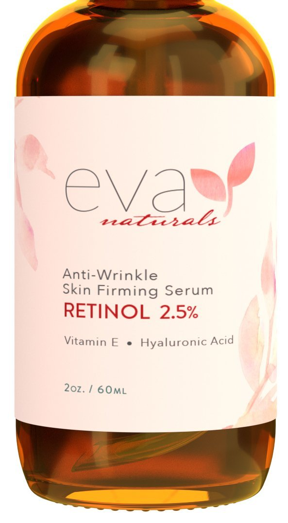 Retinol Serum 2.5% by Eva Naturals (2 oz, Double-Sized Bottle) - Best Anti-Aging Serum, Minimizes Wrinkles, Helps Prevent Sun Damage, and Fades Dark Spots - Vitamin A Retinol with Hyaluronic Acid ENRS2