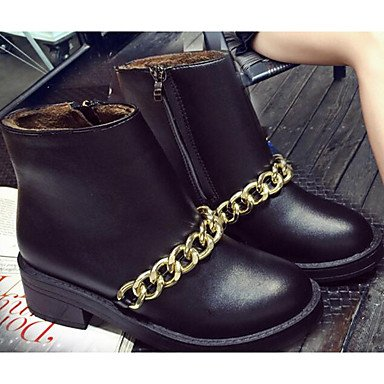 Women's Boots Comfort Combat Boots Winter Real Leather PU Casual Black Under 1in , black , us4-4.5 / eu34 / uk2-2.5 / cn33