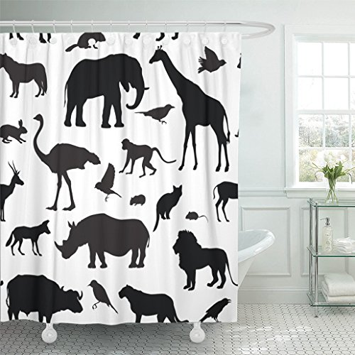 """Emvency Shower Curtain 72""""x78"""" Black Elephant Animals Silhouette Wildlife Tiled African Mouse Wild Cartoon Lion Waterproof Polyester Fabric Adjustable Hook"""