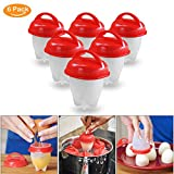 Egglettes Egg Cooker- Ledeak Nonstick Silicone Egg Cups, Hard & Soft Eggs Maker without Shell, Poacher, Boiled, Steamer,BPA Free,Home Kitchen Cooking, As Seen On TV(6 Pack)
