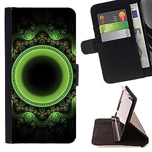 BullDog Case - FOR/Apple Iphone 6 / - / green mysterious Indian oriental floral /- Monedero de cuero de la PU Llevar cubierta de la caja con el ID Credit Card Slots Flip funda de cuer