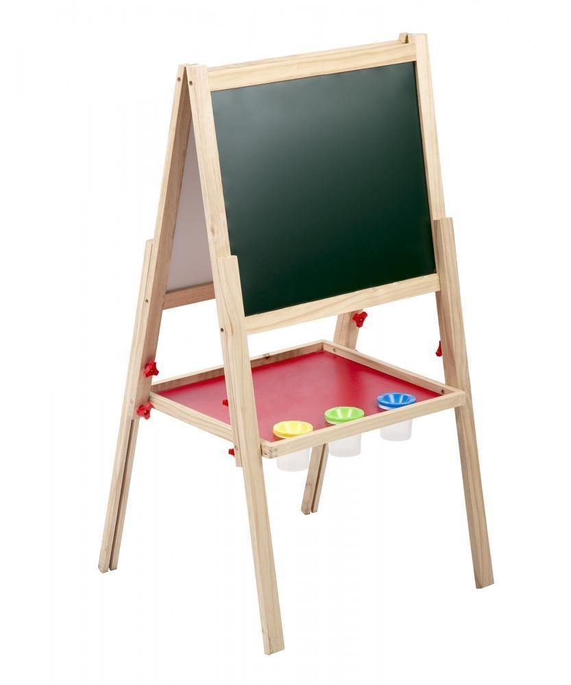 Non-toxic Kids Drawing De48.5'' 2-In-1 Adjustable Wooden Kids Standing Art Easel w/ Drawing Double Side Board with Eboosk Art Easel Storage Shelf Studio Set w/ Replaceable Paper Roll & Stool with Ebook