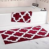 Super Absorbent 100 Percent Egyptian Cotton 2-Piece Burgundy Trellis Bathroom Mat Set