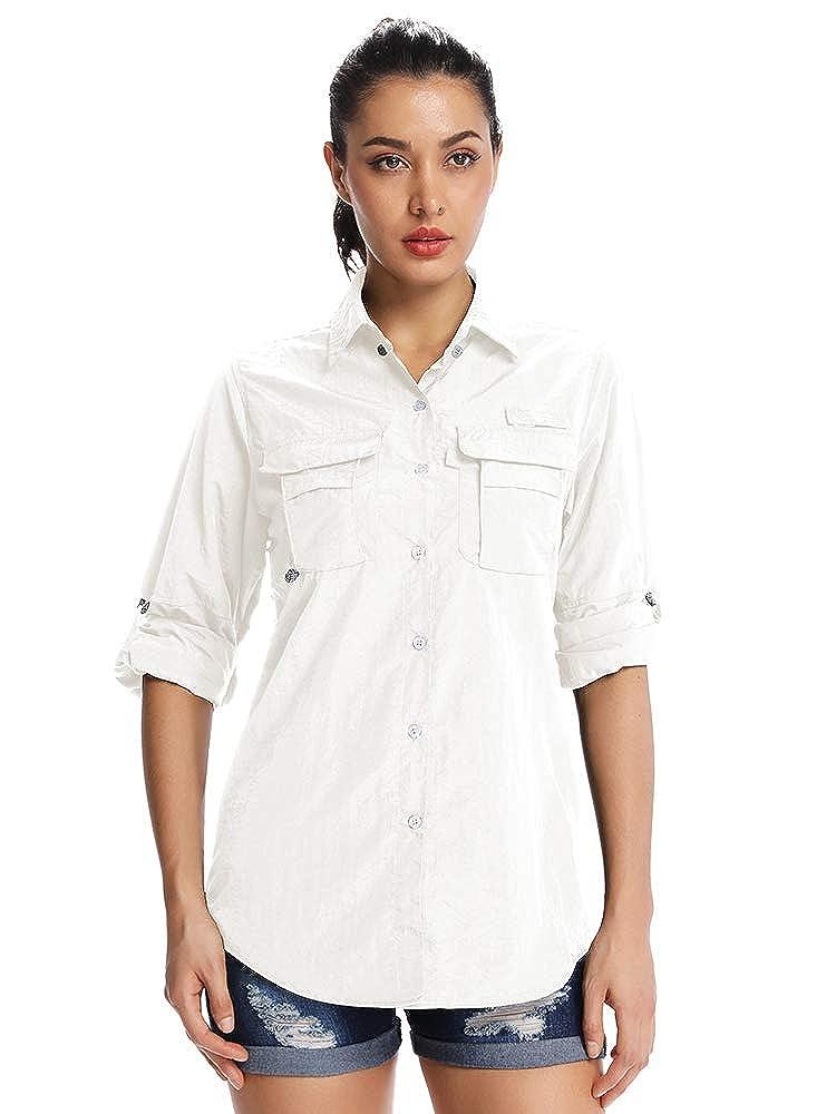 Asfixiado Womens Long Sleeve Hiking Shirts,Quick Dry Sun UV Protection Convertible to Short Sleeve Shirts for Camping Fishing Sailing