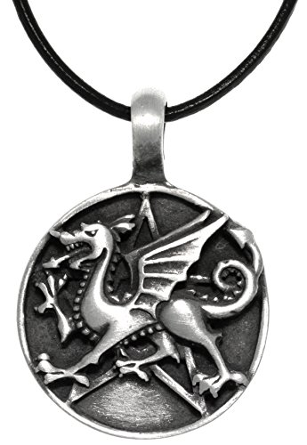 - Jewelry Trends Dragon Star Round Medallion Pewter Pendant Necklace 18