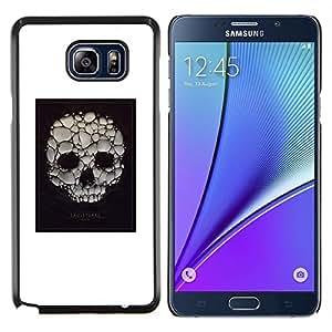 KLONGSHOP // Cubierta de piel con cierre a presión Shell trasero duro de goma Protección Caso - Cartel blanco del cráneo burbuja de jabón Muerte - Samsung Galaxy Note 5 5th N9200 //