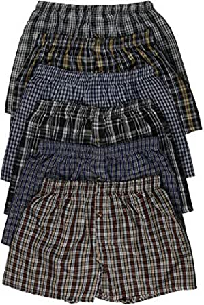 ToBeInStyle Men's 3 Pack Classic Multicolored Checkered Woven Boxer Shorts w/Button - Small