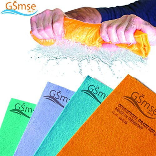 Premium Commercial Grade German Chamois Super Absorbent Drying Cleaner Cloth Guaranteed Best Shammy - Lifetime Replacement (Orange 2PK, 260 Gram 20