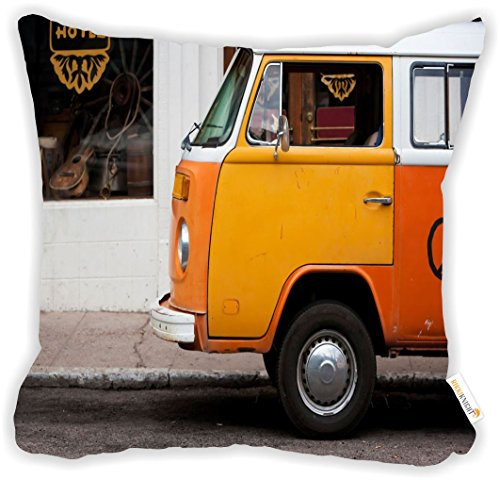 Rikki Knight Vintage Orange Volkswagen Beetle Van Microfiber Throw Décor Pillow Cushion 18