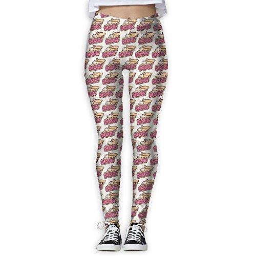 ElephantAN Women's Girl Cherry Pie Fashion Slim High Waist Tights Yoga Pants Sport Gym Running Fitness Workout Leggings Skinny Long Sportswear