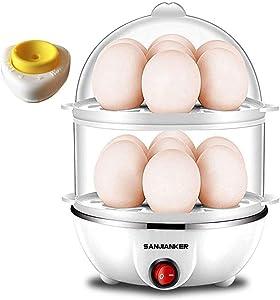 SANJIANKER XB-EC06 14 Egg Capacity Egg Cooker,350W Electric Egg Maker,Egg Steamer,Egg Boiler,Egg Cooker With Automatic Shut Off, Egg Cooker with Egg Piercer,White