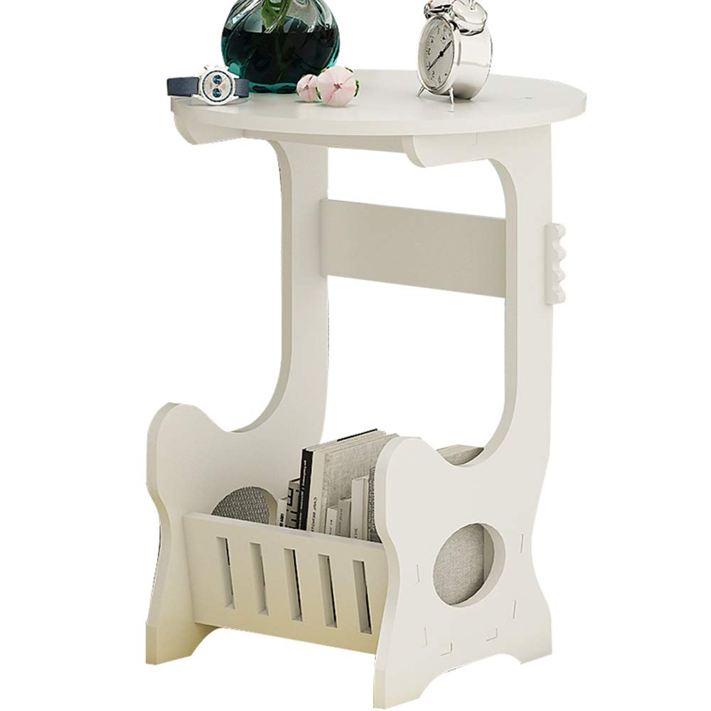 ZHIRONG White Modern Design Round Coffee Tea Table Side End Table with Storage Living Room Furniture