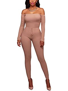 Vamvie Women s Sexy Off Shoulder Long Sleeve Long Pant Bodycon Jumpsuit  Skinny Romper d9077e8c5