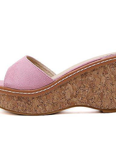 ShangYi Women's Shoes Fleece Wedge Heel Open Toe Sandals Dress Black / Pink / Gray Pink m1S48M5TB