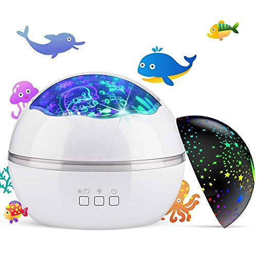 Newest Baby Kids Night Light Projector, Ocean Constellation Night Lights Projector Lamp, Rotating and Colorful Mood Nursery Soother Light for Baby Kids Boys Girls Toddlers Adults in Bedroom(White)
