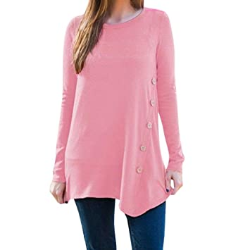 1af2ada273e Long Sleeve t-Shirt Top Clearance Women Ladies Casual Long Sleeve Round  Neck Button Shirt