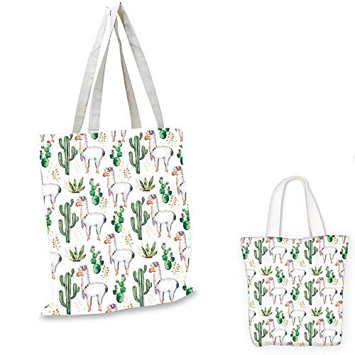 Cactus small clear shopping bag Hot South Desert Plant Cactus Pattern with Camel Animal Modern Colored Image Print canvas beach bag Multicolor. 12