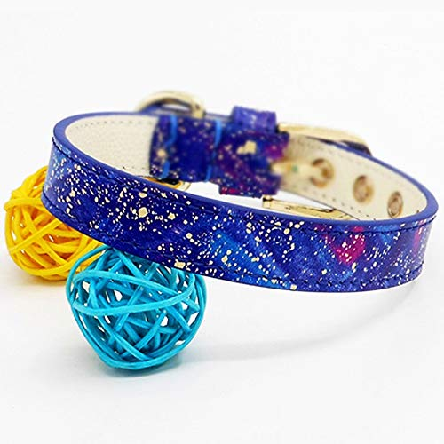 Rainbow sky M(30-36) Rainbow sky M(30-36) MSNDD Handmade Leather Pet Collar,cat Dog Collar(fantasy Star Sky) (color   Rainbow sky, Size   M(30-36))