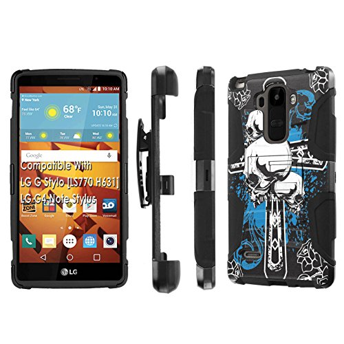Click to buy LG G Stylo [LS 770 H631], [NakedShield] [Black/Black] Holster Armor Tough Case - [Blue Cross Skull] for LG G Stylo LS770 - From only $12.79