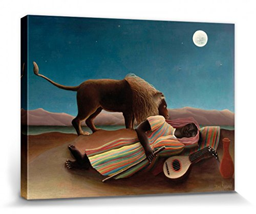 - Henri Rousseau Stretched Canvas Print - Sleeping Gypsy, 1897 (16 x 12 inches)