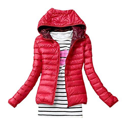 FEITONG Femmes Hiver chaud Bonbons Couleur Thin Slim Down Coat Jacket Pardessus Rouge