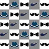 Mustache and Hat with Grid Wrapping Paper - 6ft Roll