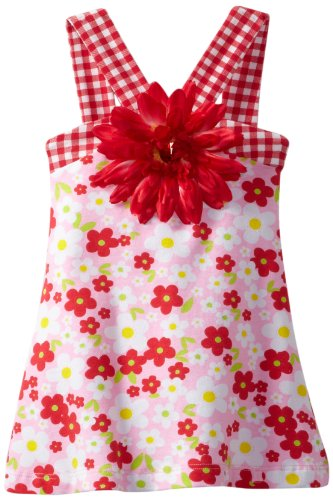 Flap Happy Baby Girls' Contrast V Dress with Flower Clip, Country Floral Combo, 12 Months