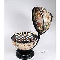 White Antique 13-in. Chess Game Tabletop Globe, 13 diam. in. x 20H in.