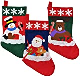 Image of Christmas Stockings for Kids - Set of 3 - Family Fireplace Decorations and Cute Santa Stocking Fillers for Light Gifts & Goodies – 18''/46cm Long, Classic Unique Xmas Socks Made of Soft Felt