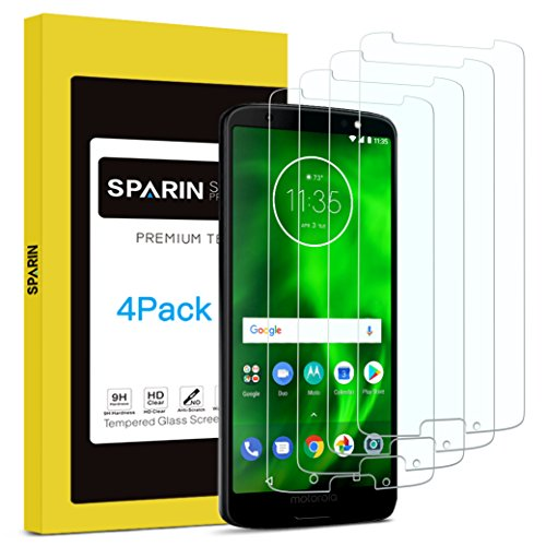 [4 Pack] Moto G6 Screen Protector, SPARIN Tempered Glass Screen Protector for Moto G6, Covers Viewable Display Only with Anti-Scratch/Response Quickly/Easy Installation/Bubble Free, 5.7 inch