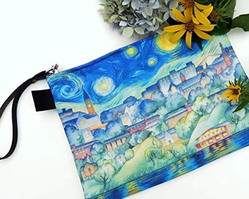 "Cornell University Apparel Canvas Zipper Clutch Bag Starry Night 10"" Boho Women's Wristlet Purse"