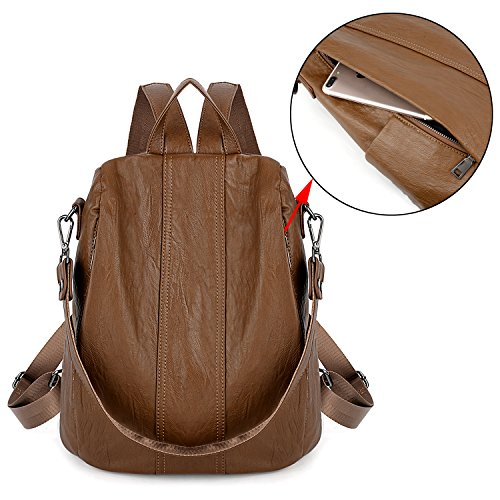 PU Rucksack Washed Convertible Backpack Leather Purse Shoulder Black UTO brown Women 479 Anti Ladies Theft Bag xwq88fvX