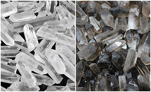 Smokey Quartz and Clear Quartz Crystal Points Combo Lot (8 oz, 1/2 lb) by Rainbowrecords239 ()