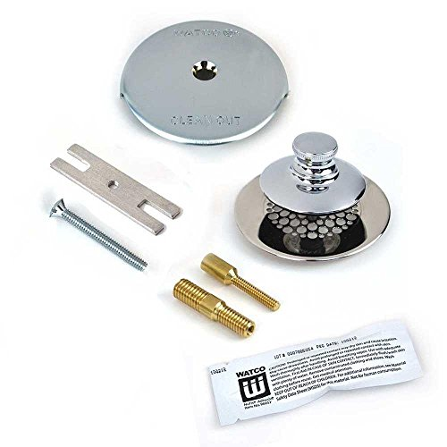 Watco Universal NuFit Push Pull Bathtub Stopper with Grid Strainer, One Hole Overflow Silicone and Two Pins in Chrome Plated by Watco