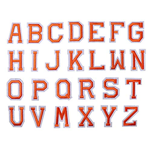 SHELCUP Iron on Letter Patch for Clothes, 26pcs Alphabet A to Z Word Iron-on Patches, Sew-on Appliques for Jeans/Jackets/Backpacks/Kids Clothing to Cover Rip/Logo, Classic Orange