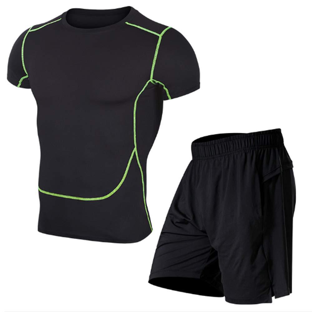 QJKai Sportanzug für Männer hoch elastische, schnell trocknende Strumpfhose zweiteiliges Outdoor-Training für Laufbekleidung
