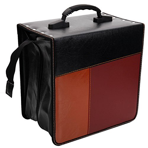 520 Disc Cd - New 520 Disc Faux Leather Patchwork CD DVD Storage Bag Holder Case Black & Brown
