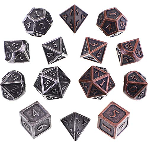 Jovitec 14 Pieces Metal Solid Zinc Alloy Game D&D Dices Set Durable Polyhedral Dice with Printed Numbers and Velvet Storage Bags for Game, Dungeons and Dragons, RPG, Math Teaching (D)